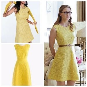 J. Crew Textured Eyelet Jacquard Dress ASO Yellow